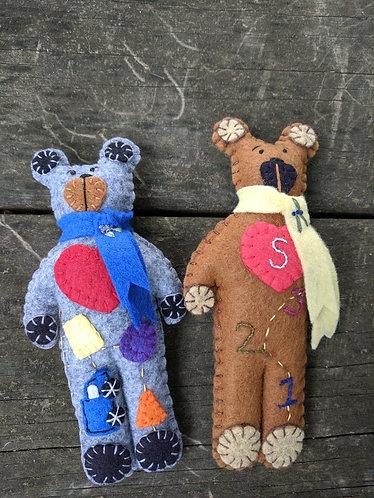 Bear, Teddy Bear, Stuffed Bear, Embroidered Bear, Flower Bear