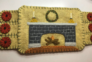 Christmas Fireplace mug rug