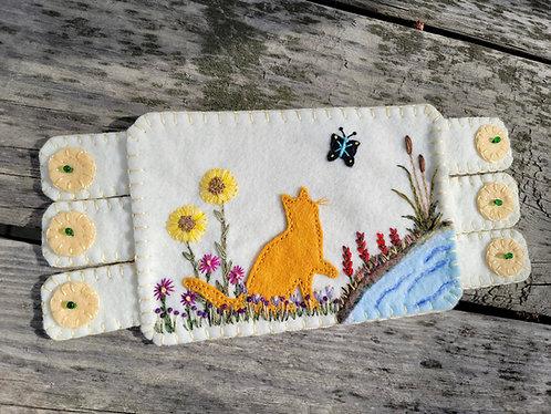 Orange cat, cat mugrug, cat and butterfly coaster