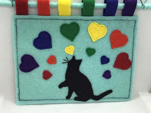 Black cat wall art, rainbow art