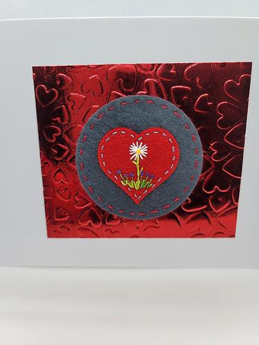 Valentine card, hand embroidered card