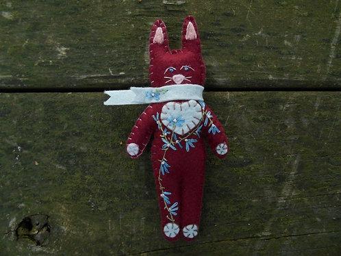 Bunny Rabbit, Stuffed Bunny, Embroidered Bunny, Flower Bunny