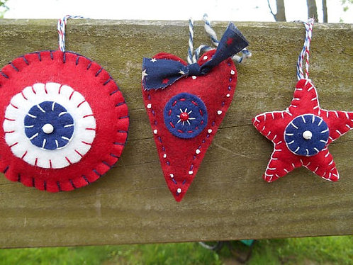 Folk Art Ornament, Heart Ornament, Star Ornament
