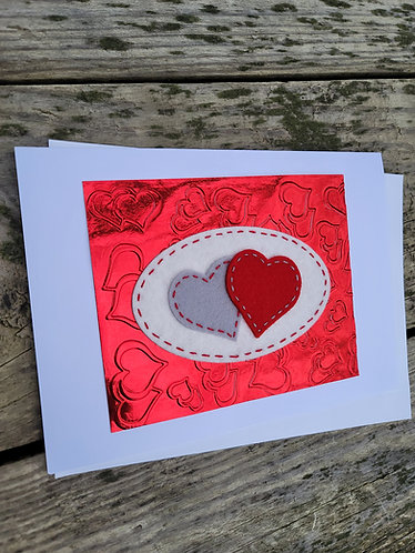 Valentine's day card, two hearts card