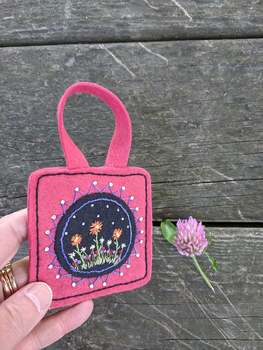 Orange daisies, folk art ornament