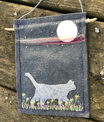 Gray cat with full moon, cat lover gift