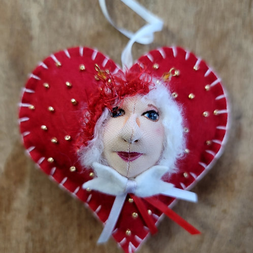 Doll ornament, valentine heart ornament