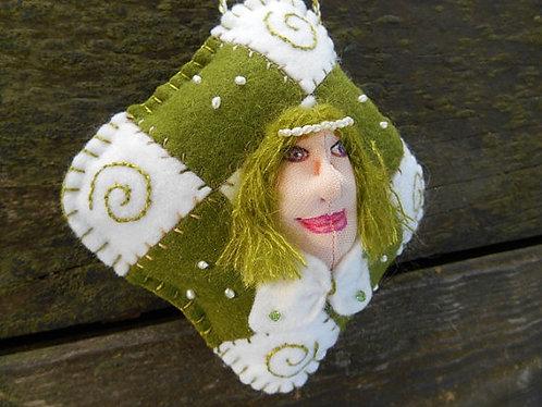 Christmas Art Doll, Cloth Doll Ornament, Genuine Pearls