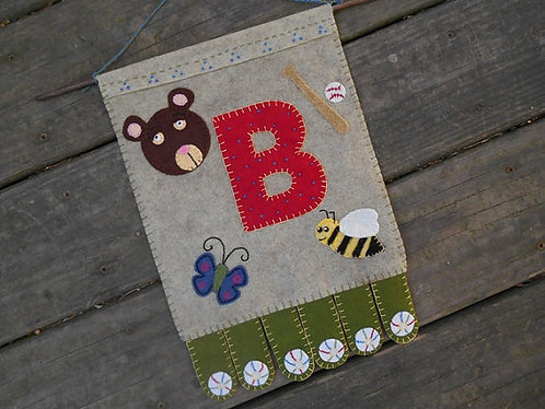 Baby's Room Banner, Wall Hanging, B is for Ball
