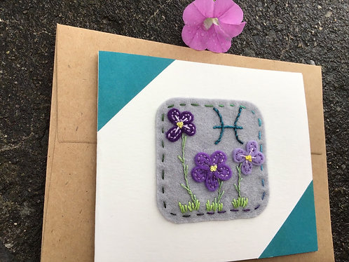Pisces birthday card, zodiac greeting card