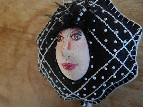 Black and White Doll Ornament, Beaded Ornament