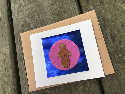 Gingerbread man Card, Holiday greeting card