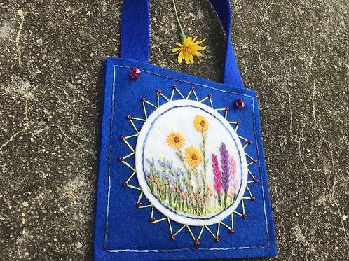 Flower embroidery wall art, door knob decoration