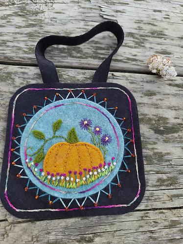 Pumpkin ornament, flower embroidery ornament