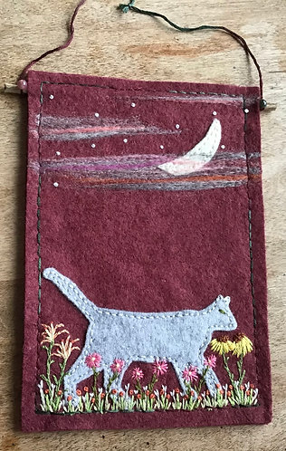 Gray cat with crescent moon