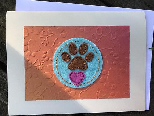 Dog paws card, pet loss card