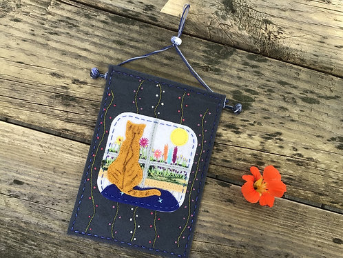 Cat wall hanging, orange cat fiber art