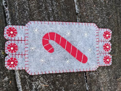 Candy Cane mugrug, Christmas coaster