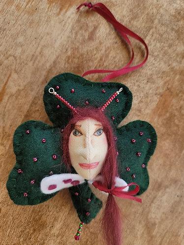 St Patrick's day fairy, art doll ornament