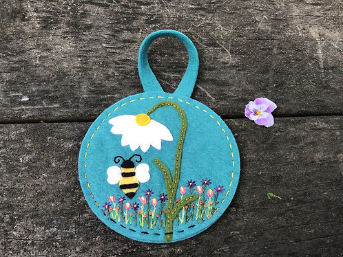 Bumble bee ornament, wool felt bee, embroidered flowers