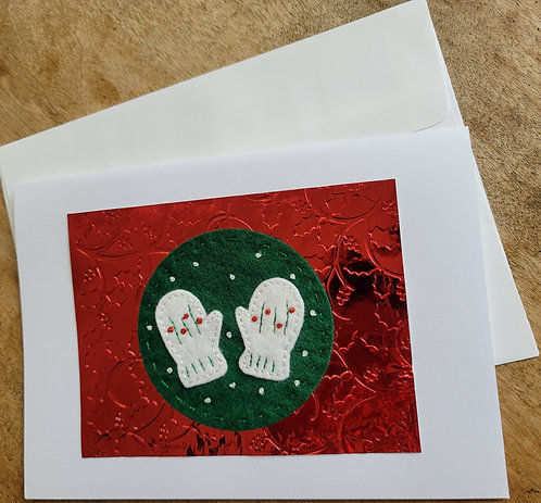 Winter mittens card, winter greeting card