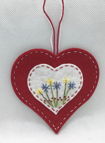Valentine heart and flowers ornament