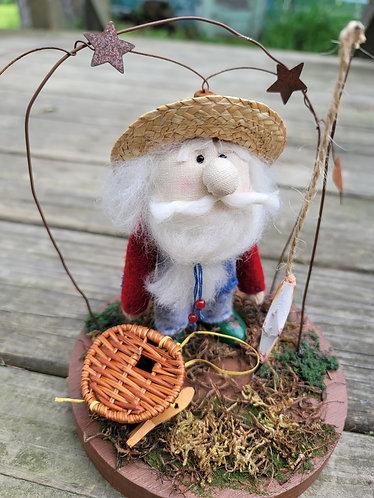 Fishing gnome, fisherman doll