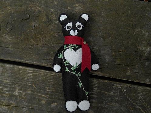 Panda Bear, Teddy Bear, Stuffed Bear, Embroidered Bear, Flower Bear