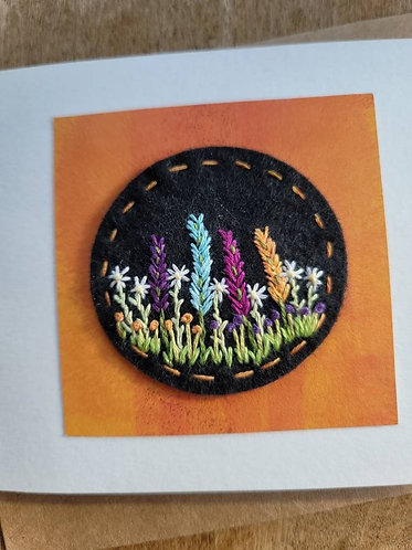 Flower embroidery card, any occasion greeting card