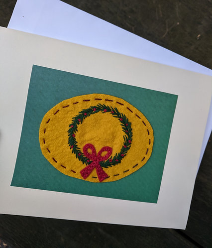 Hand stitched Wreath Card, Christmas Cards, Holiday Cards