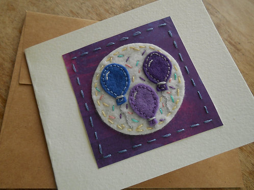 Hand Embroidered Birthday Card