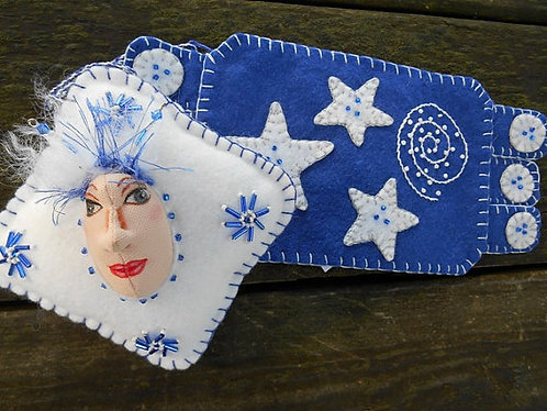 Royal Blue Mug Rug and Art Doll Ornament