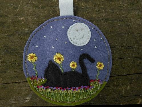 Hand Embroidered mini wall art, Cat, Black Cat, Sunflowers kitchen art