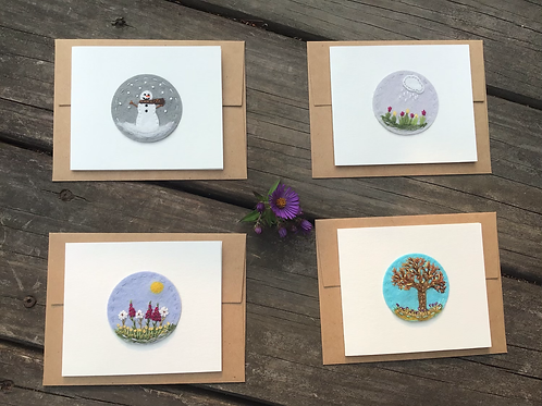 Handmade note cards, Notecards, note cards, Blank inside, Embroidered note cards
