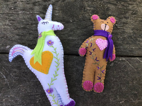 Teddy Bear, White Bear Brown Bear, Embroidery flowers
