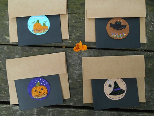 Handmade note cards, Notecards, note cards, Blank inside, Embroidered