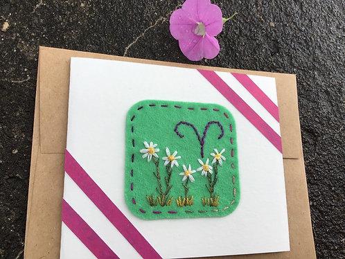 Aries birthday card, zodiac greeting card