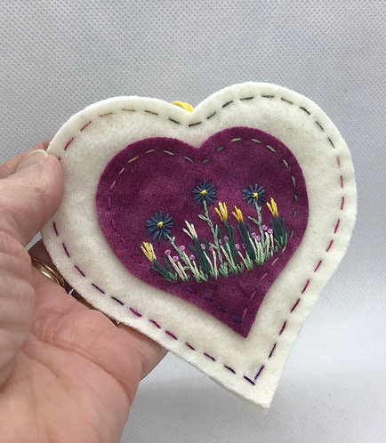 Wool heart ornament
