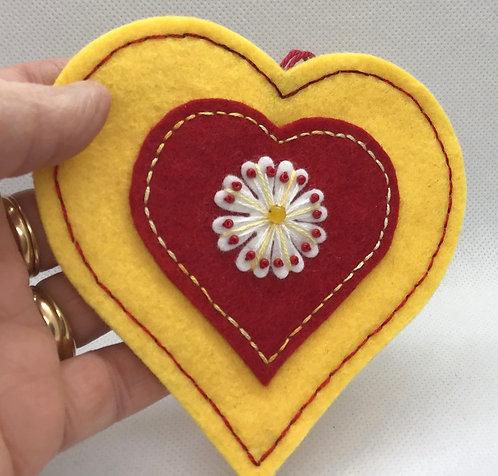 Yellow beaded valentine ornament