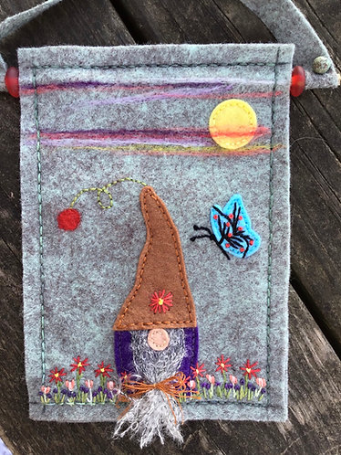 Gnome wall art, garden gnome embroidery, flower embroidery