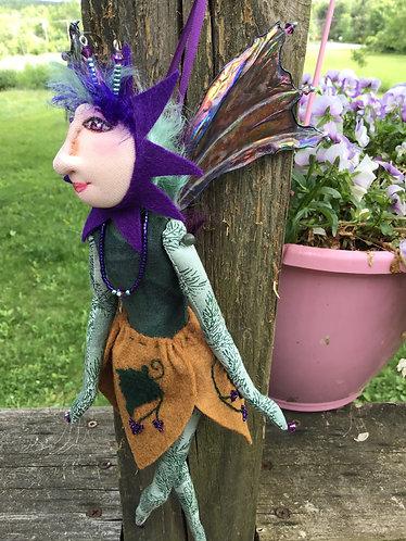 Grape fairy, handmade art doll