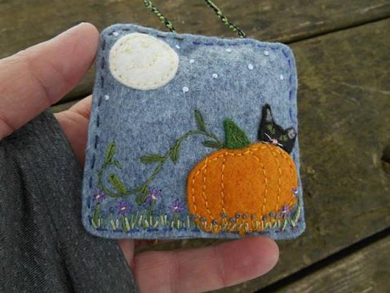 kitty and pumpkin stuffed ornament