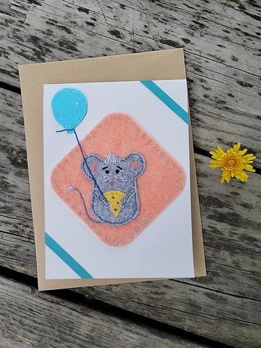Birthday card, mouse card, balloon card