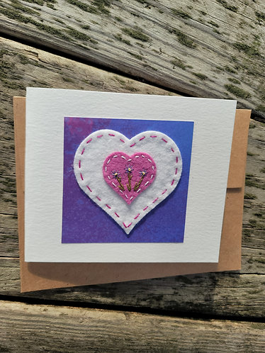 Valentine's day card, embroidered flowers card