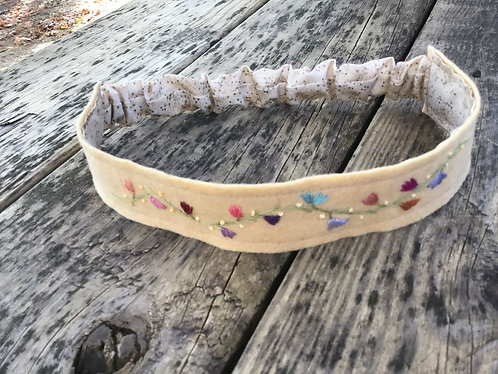 Embroidered headband, wearable art, hand embroidered