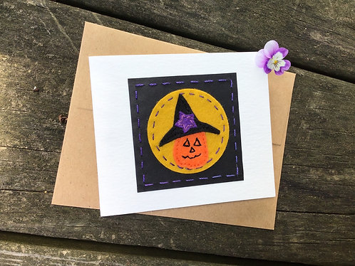 Halloween greeting card, pumpkin card