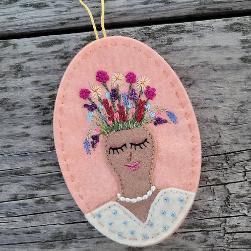 Flower embroidery ornament, plant lady, ooak ornament