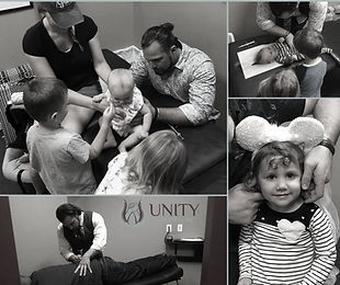 Chiropractor offering family care to an infant