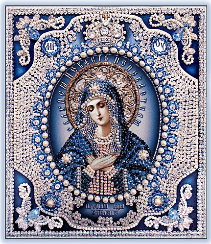 Богородица Умиление (с натуральным жемчугом)