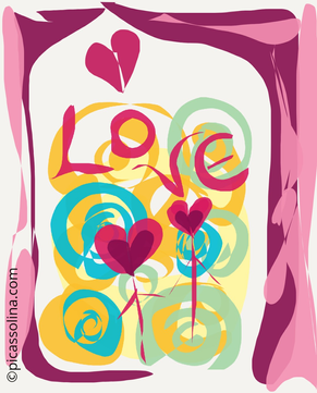 picassolina postcard illustration love flowers abstract